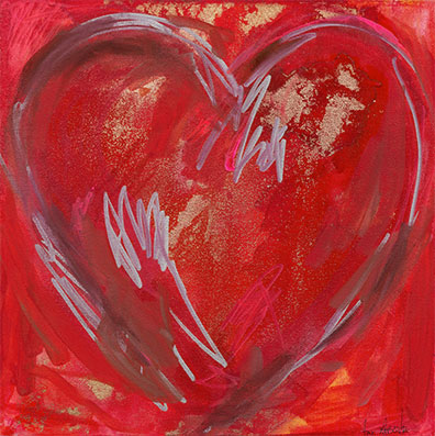 Painting of a heart by Anne Labovitz.