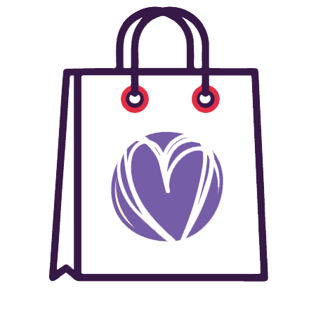 Icon of shopping bag with heart shape on it.